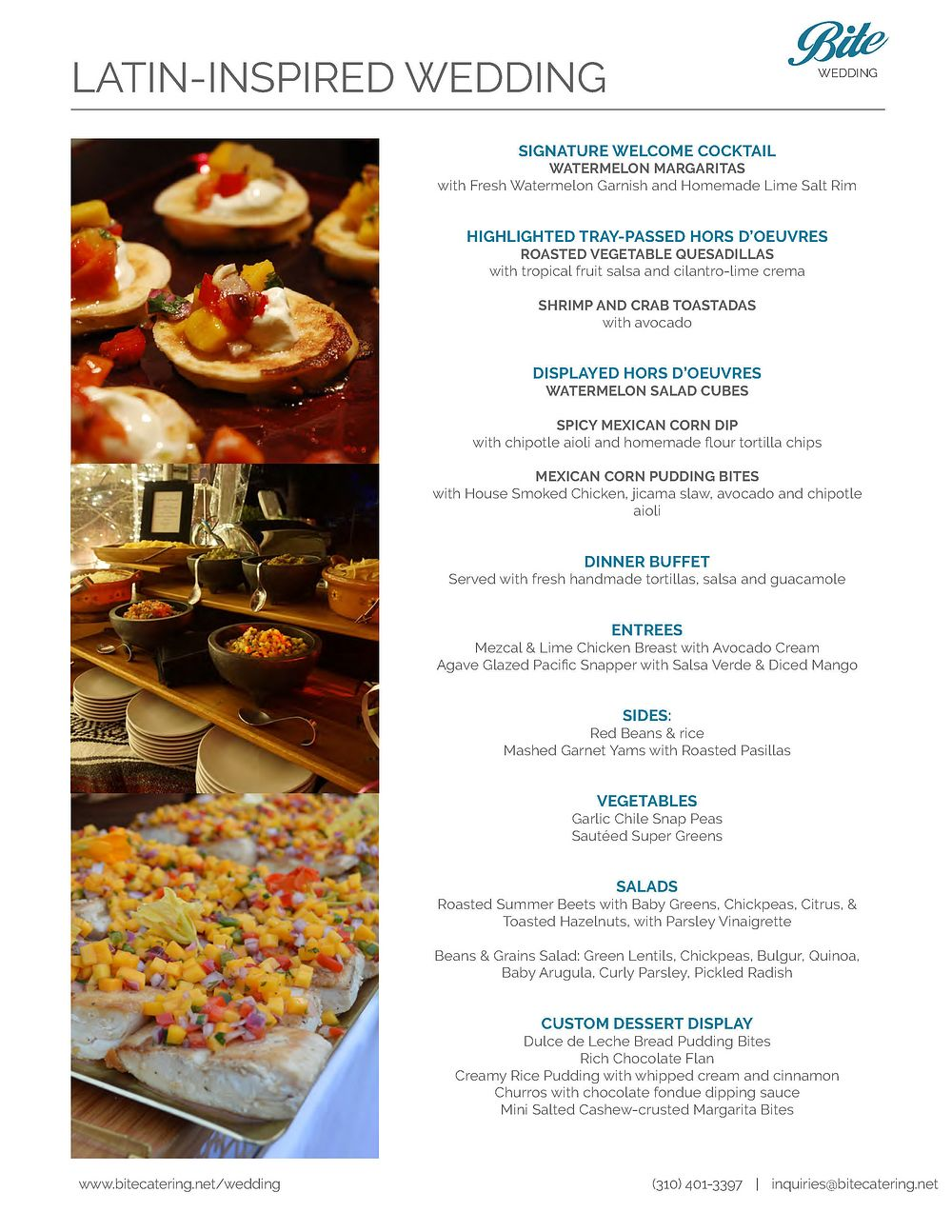 Latin Buffet Menu