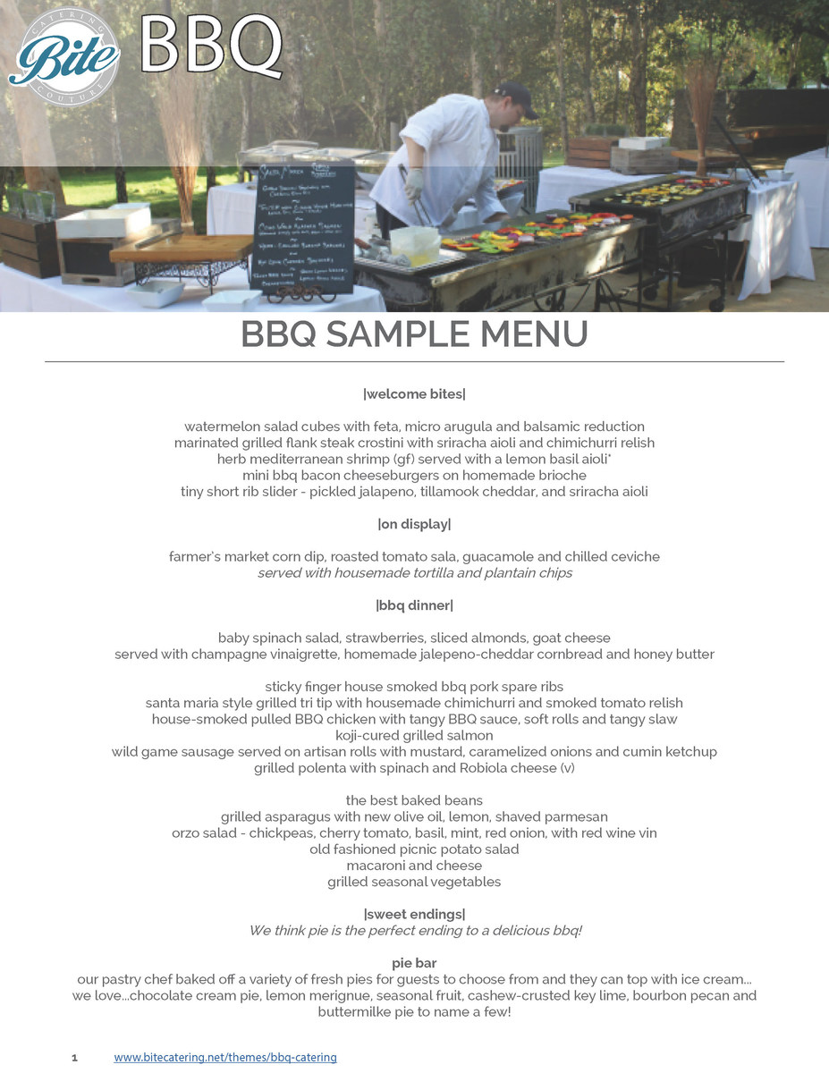 BBQ Options on A La Carte Platters Menu