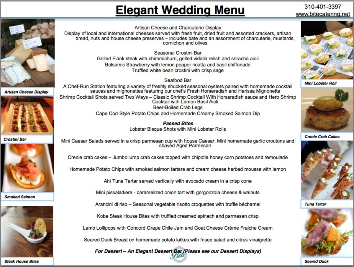 Elegant Cocktail Wedding Menu