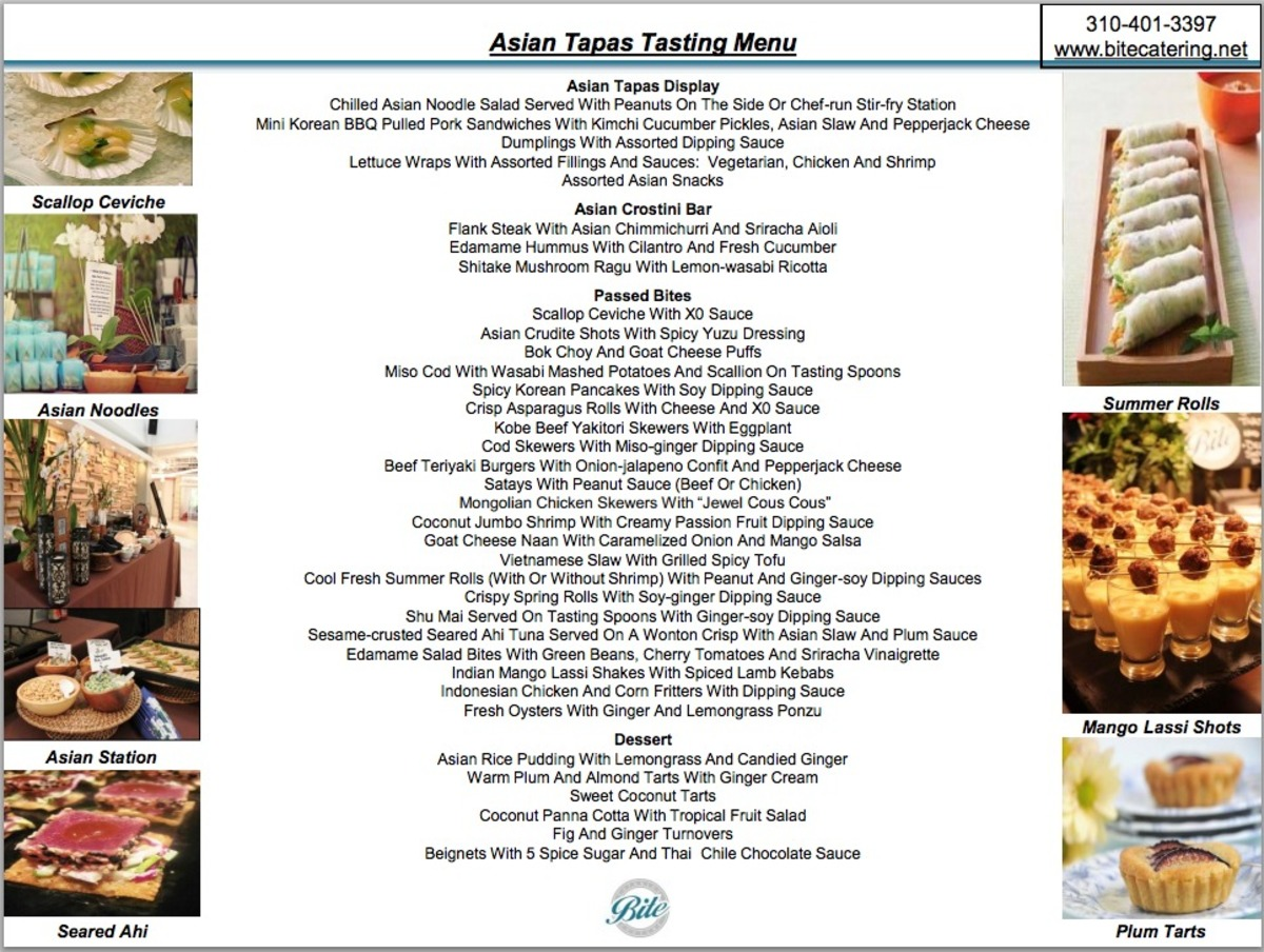 Custom Themed Menus (Asian Tapas Example)