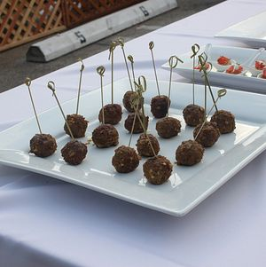 Santa Monica Company Anniversary Party Lamb Bites Skewered