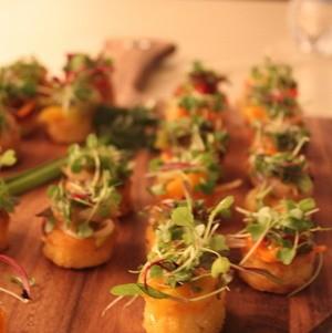 Sauteed Polenta Cakes with Mushroom Ragu and Microgreens