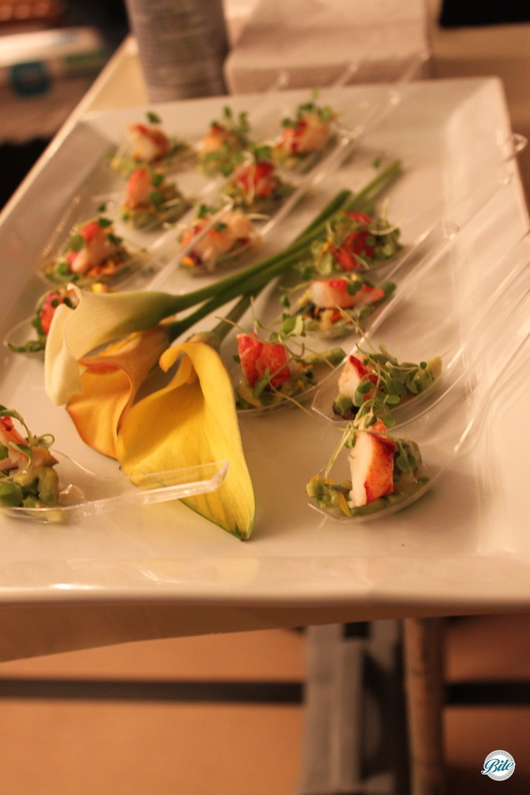 Butter poached lobster with avocado, micro greens and meyer lemon vinaigrette