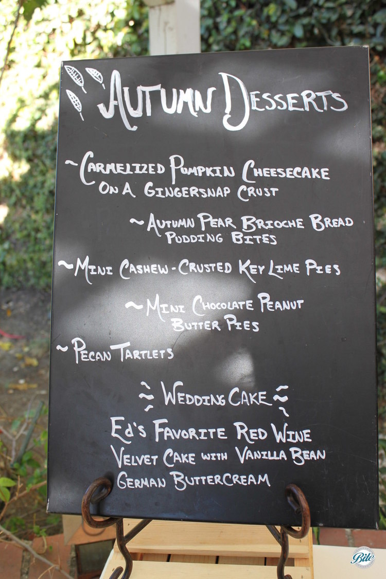Chalkboard menu highlighting autumnal desserts