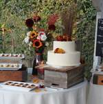 Fall themed dessert station for wedding