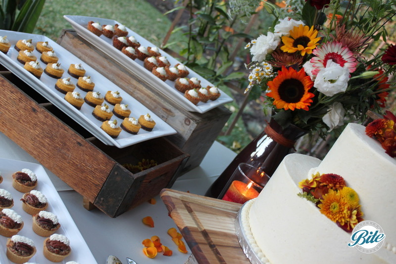 Flavored for the fall including pumpkin cheescake bite on a gingersnap crust and mini chocolate peanut butter pies.