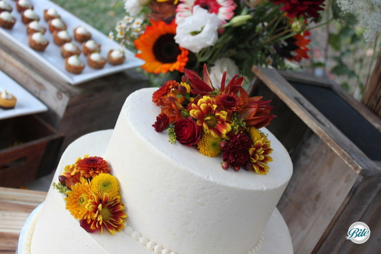 Top Tier for wedding cake highlighting fall colors