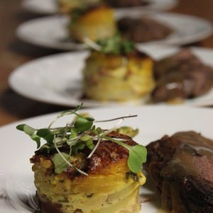 Potato Gratin next to Venison