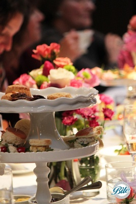 detail shot of tea sandwiches, and scones on display