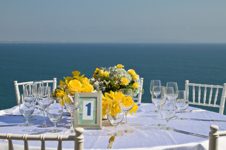 Malibu Home Backyard Wedding Centerpieces and Ocean View