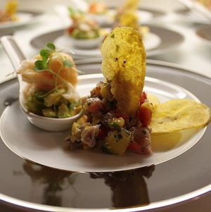 Birthday dinner lobster ceviche with side of plantain chips.