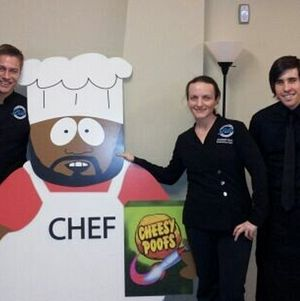 Team @ South Park with Chef and his cheesy poofs