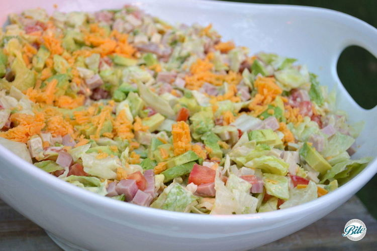California Chopped Salad with cheese, tomatoes, ham and more!
