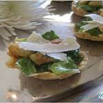 Caesar Salad Bites on Parmesan Crisp