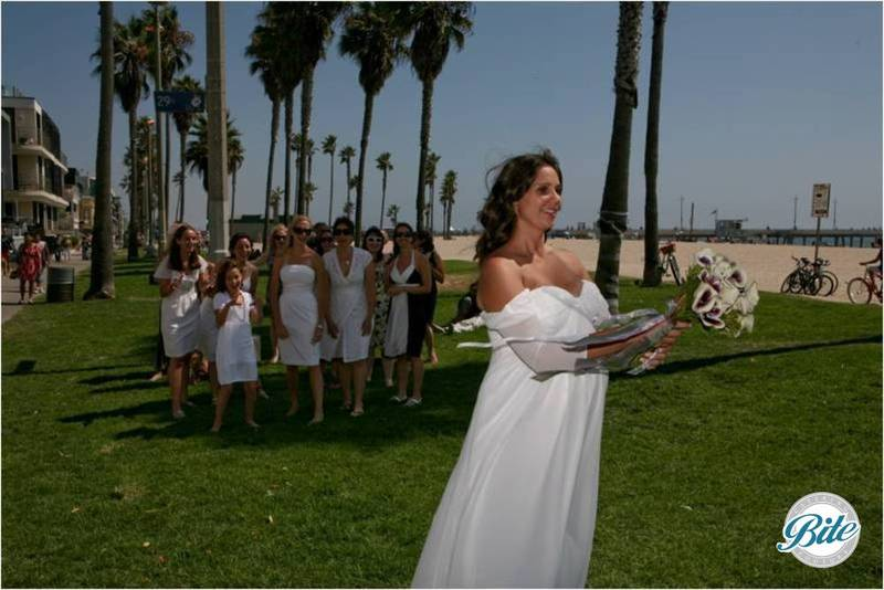 Bouquet Toss @ Beach Wedding