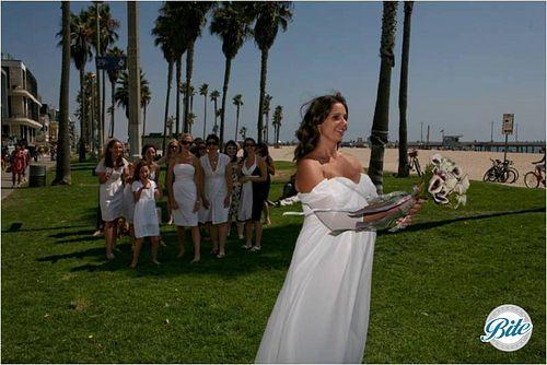 Bouquet Toss @ Beach Wedding