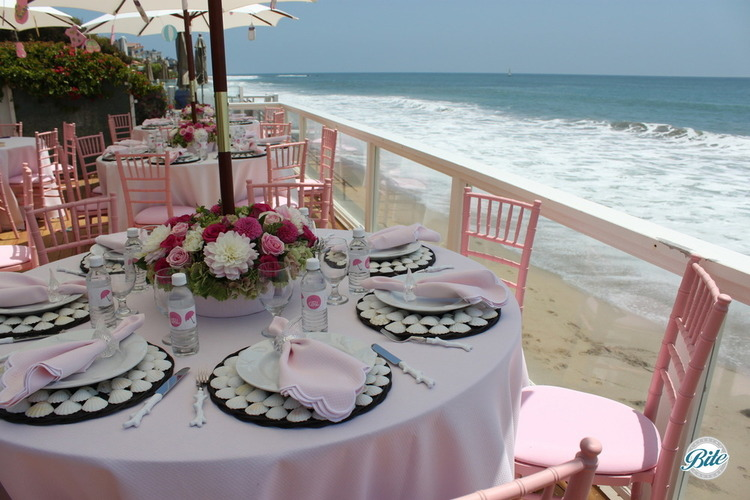 View of the beach and ocean from tables