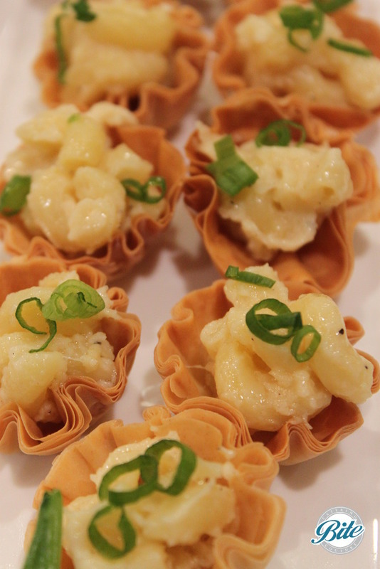 Truffle Mac'n Cheese Served in Crisp Phyllo Cups with Brown Butter Panko