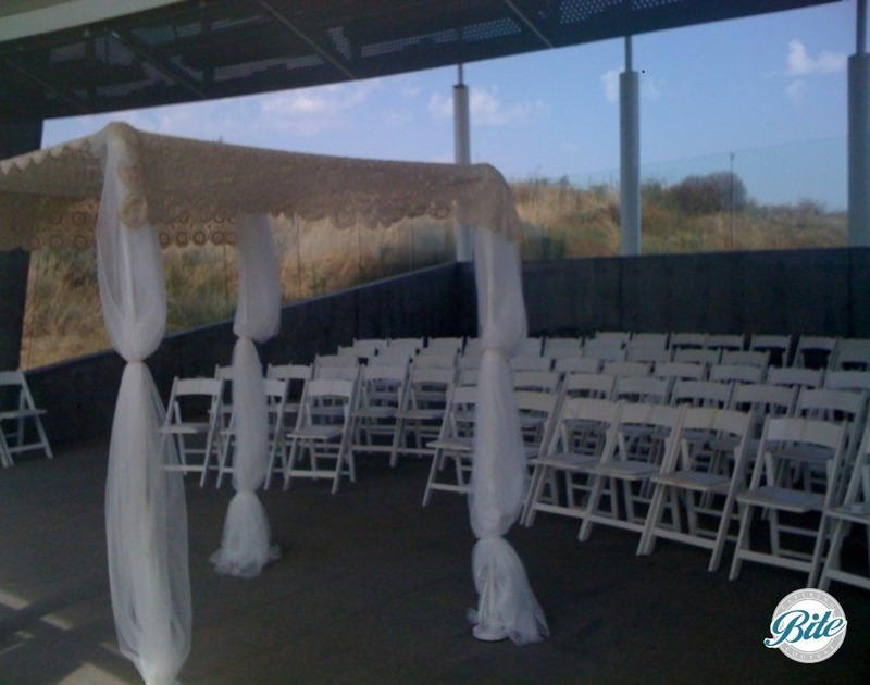Inside the pavilion with wedding ceremony set up - ability to seat 120 max