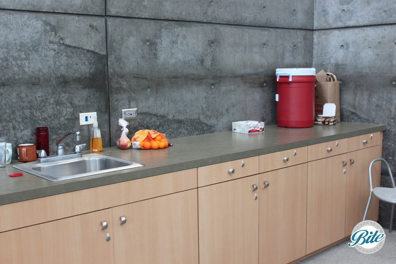 Counter space in conference room for continental breakfasts or boxed lunches