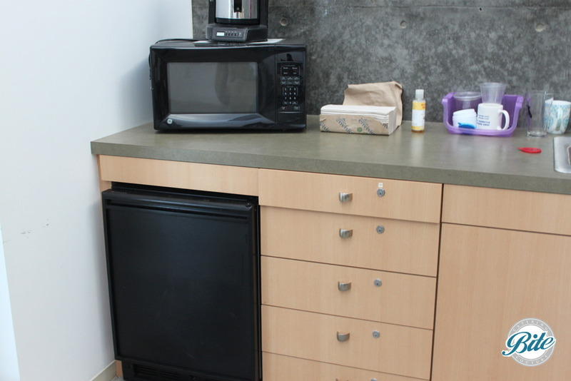 Small kitchen space in conference room is available. It includes a sink, microwave, mini fridge and coffee machine. Plenty of counter space as well