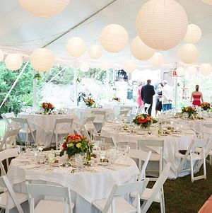 Backyard Wedding Tent w/ Lanterns