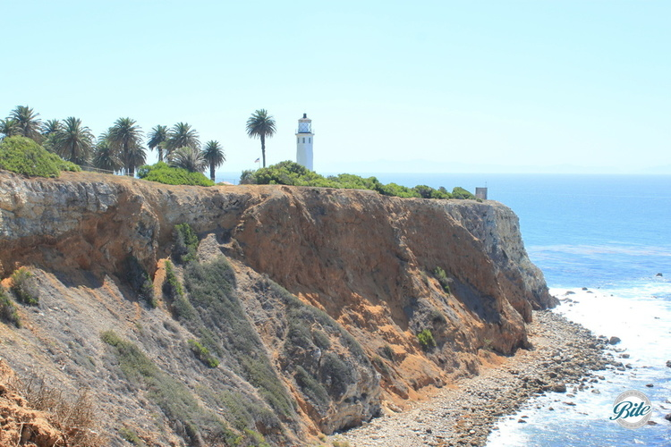 View of the lighthouse and cliffs overlooking a gorgeous ocean setting from Point Vicente Interpretive Center