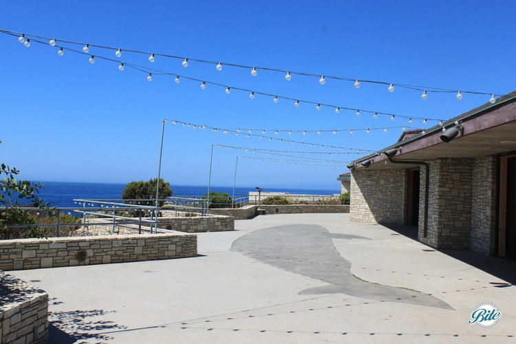Whale design in the concrete of the outdoor patio at Point Vicente. String lights are overhead to create a festive ambiance for evening events
