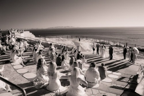 Wedding ceremony performed in the amphitheater at Point Vicente