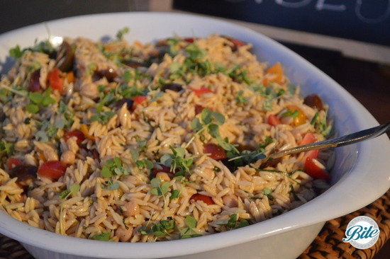 Summer Orzo with red wine vinaigrette, chickpeas, tomato, basil and mint