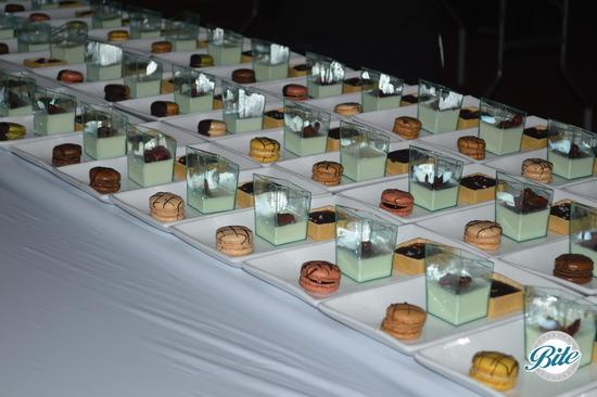Salted Chocolate Caramel Tarts Lemon Panna Cota Shots With Balsamic Strawberries Assorted Chocolate Dipped French Macaron