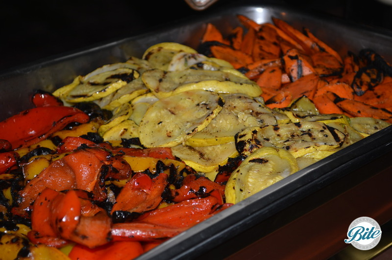 Summer grilled vegetables on buffet