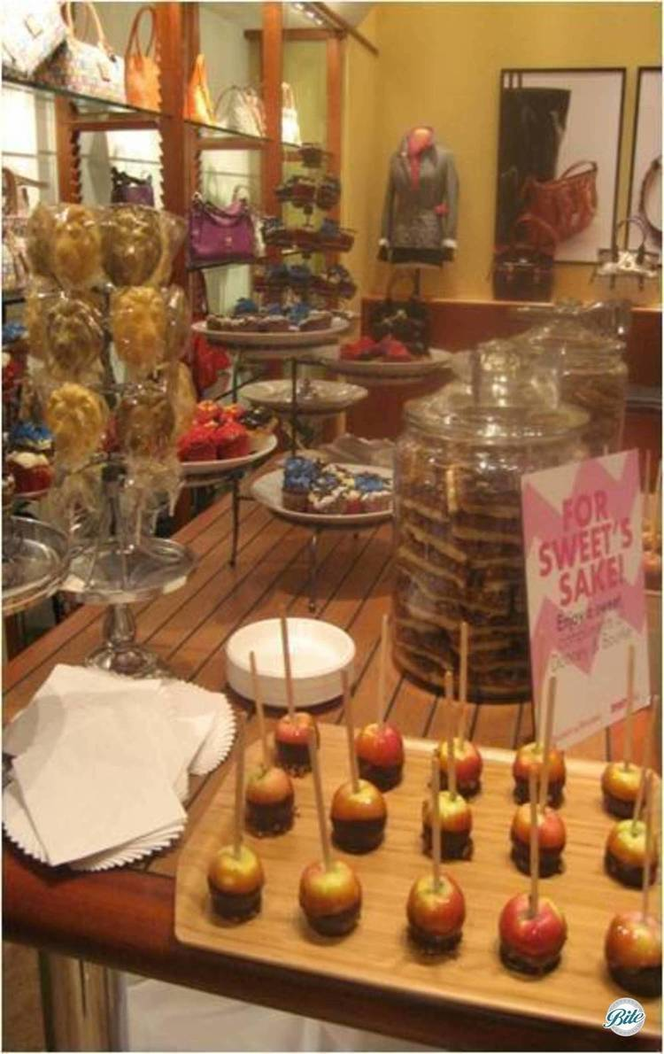 Seasonal candy apples on in-store display for private event