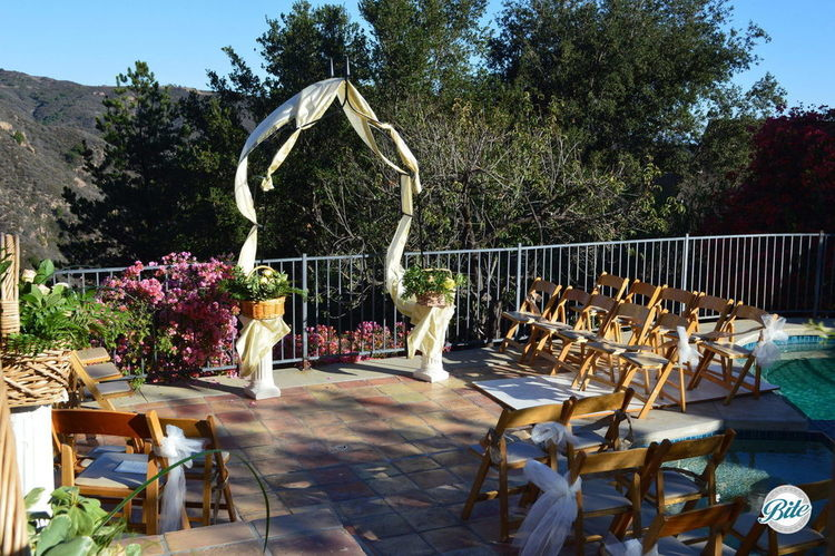 Beautiful backyard wedding setup in Malibu Canyon