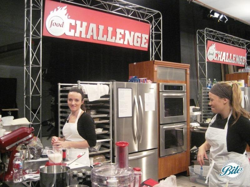 Chef Elizabeth at her station competing on Food Network Challenge: Big Bash Caterers
