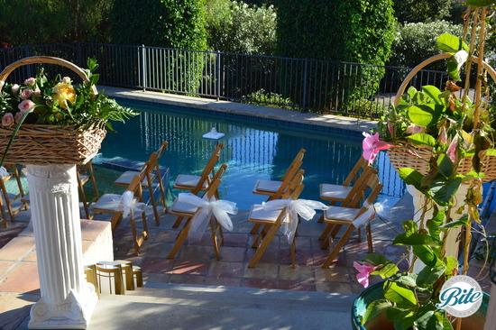 Pretty aisle design - backyard Malibu Hills wedding