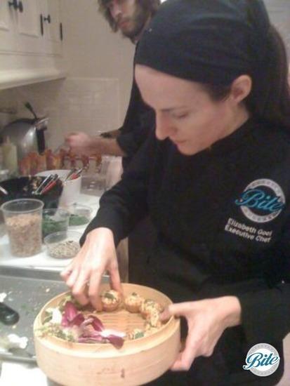 Chef Elizabeth Plating Satay Bites