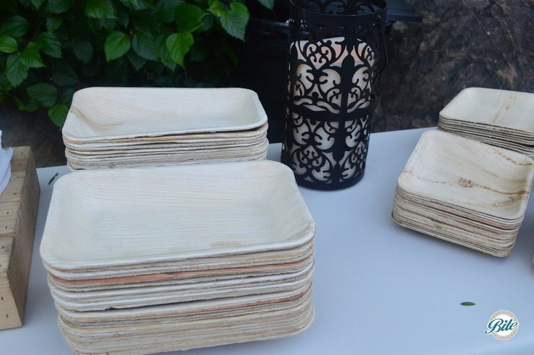 Eco-friendly wood plates on the buffet