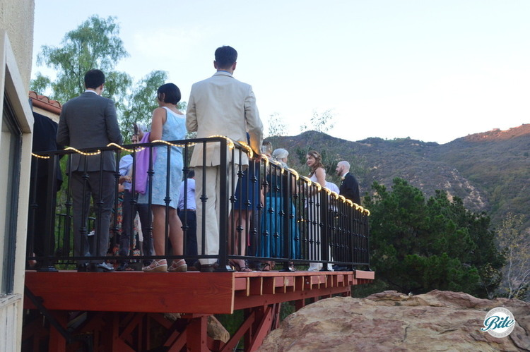 Receiving line on the porch overlooking the hills.