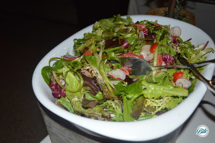 Asparagus Salad with Shaved Radishes, Cherry Tomatoes, Friseé, Tender Mixed Greens and a Honey Balsamic Dressing