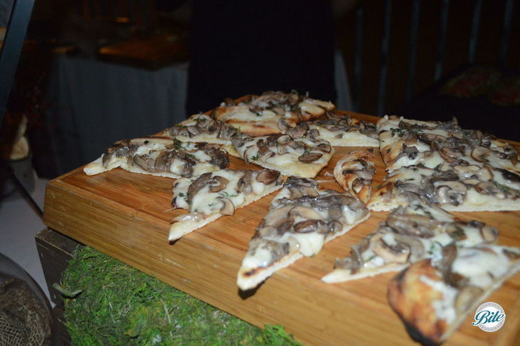 Wild Mushroom Pizza with truffle Bechamel and thyme
