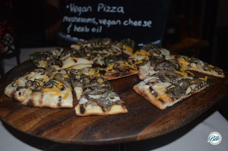Vegan Mushroom Pizza with mushrooms, vegan cheese and herb oil