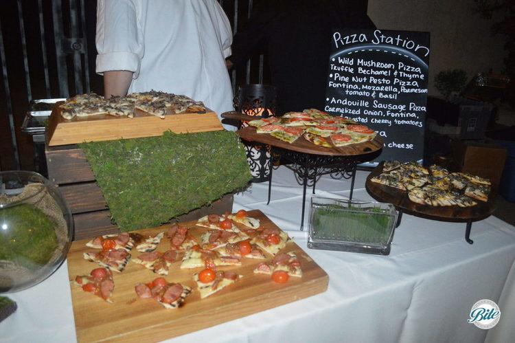 Wild Mushroom Pizza, Pine nut Pesto Pizza, Andouille Sausage Pizza, Vegan Mushroom Pizza