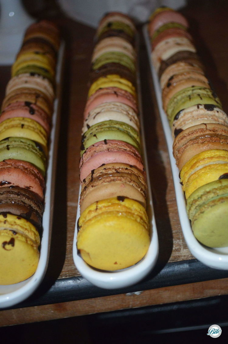 Assorted French Macarons with Chocolate Drizzle