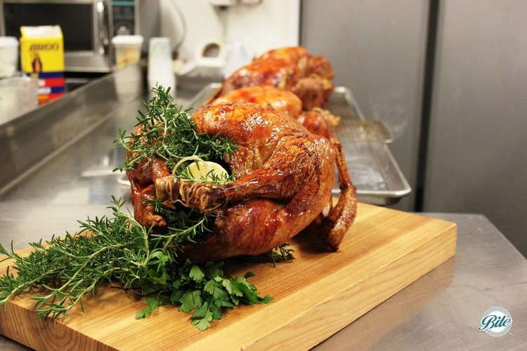Turkeys being prepared for Thanksgiving