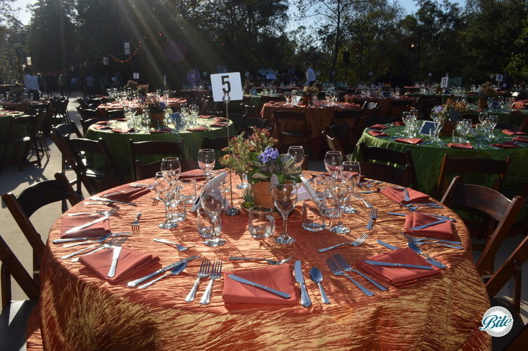 Table set for outdoor fundraising dinner and gala