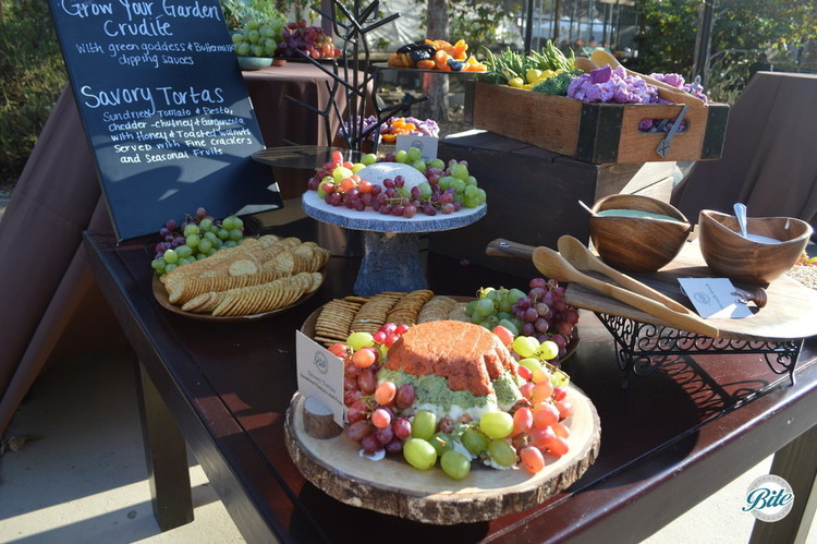 Environmental Non Profit Fundraiser for Tree People LA reflected in a Grow Your Garden Crudité Display: Savory Tortas – Sundried Tomato and Pesto, Cheddar-Chutney and Gorgonzola with Honey and Toasted Walnuts Served with Fine Crackers and seasonal fruits