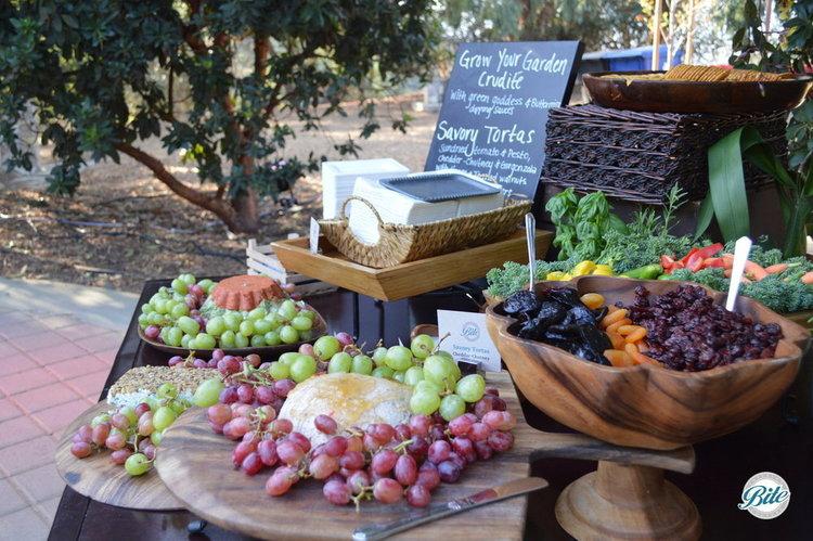 Seasonal fruits on garden display.  Served in wooden bowl.