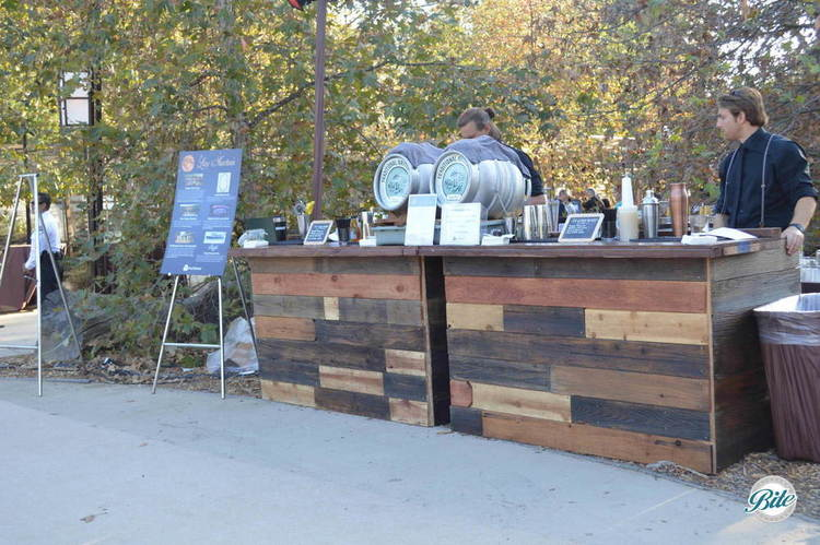 Local craft beer station on rustic bar