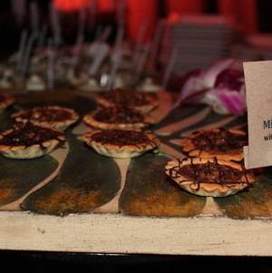 Mini Pecan Pies with chocolate drizzle